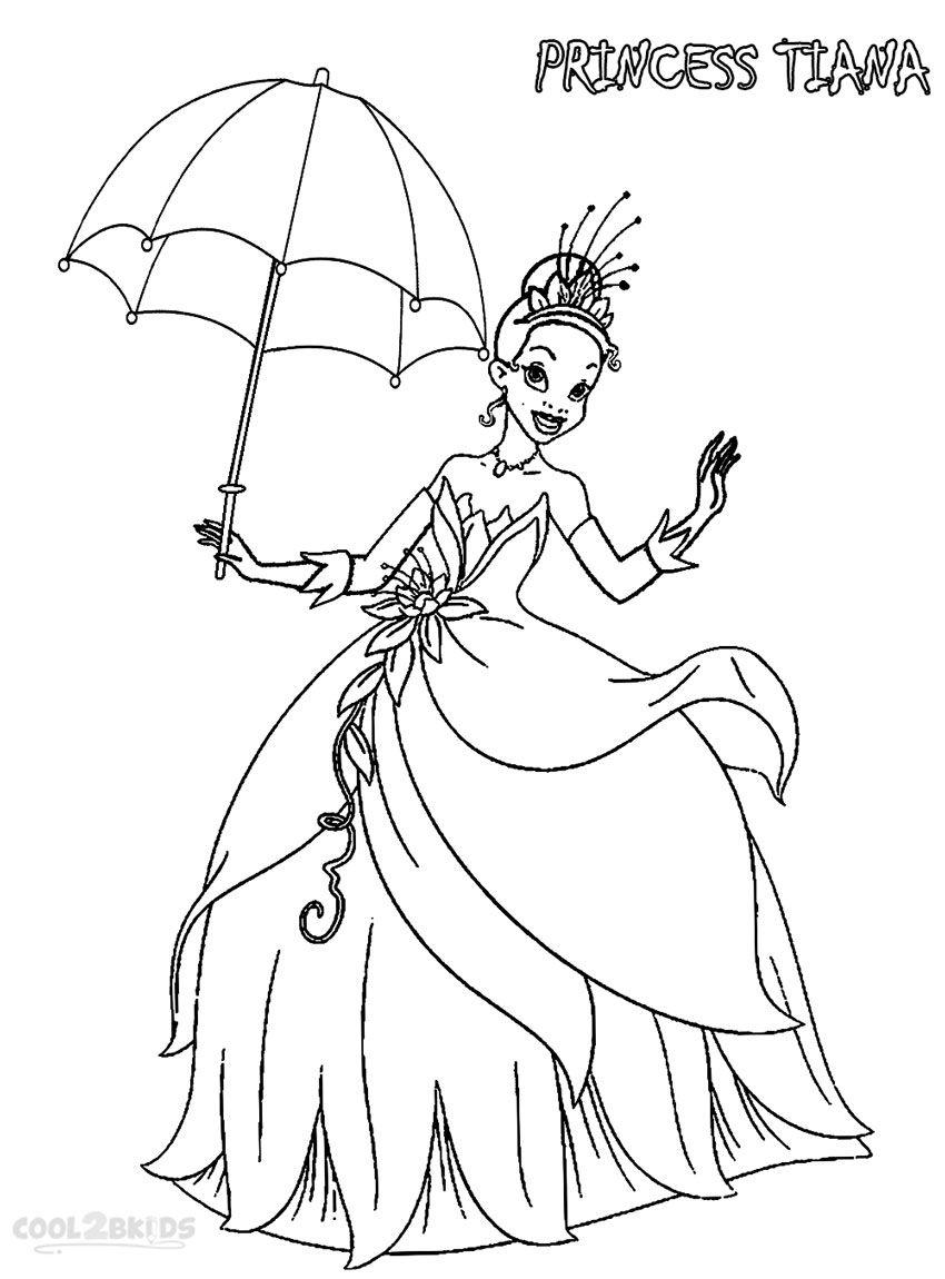 Princess Tiana Coloring Page Princess Coloring Pages Fairy Coloring Pages Frog Coloring Pages