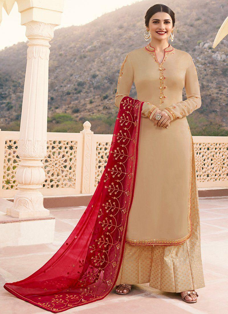 865cdbf610 Beige Vinay Prachi Desai Palazzo Salwar Suit Online in 2019 | Prachi ...