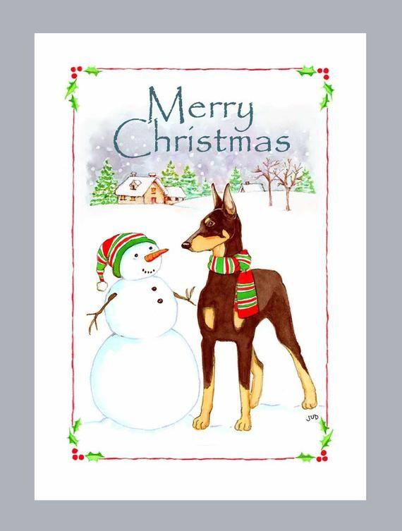 doberman pinscher red christmas cards box of 16 cards