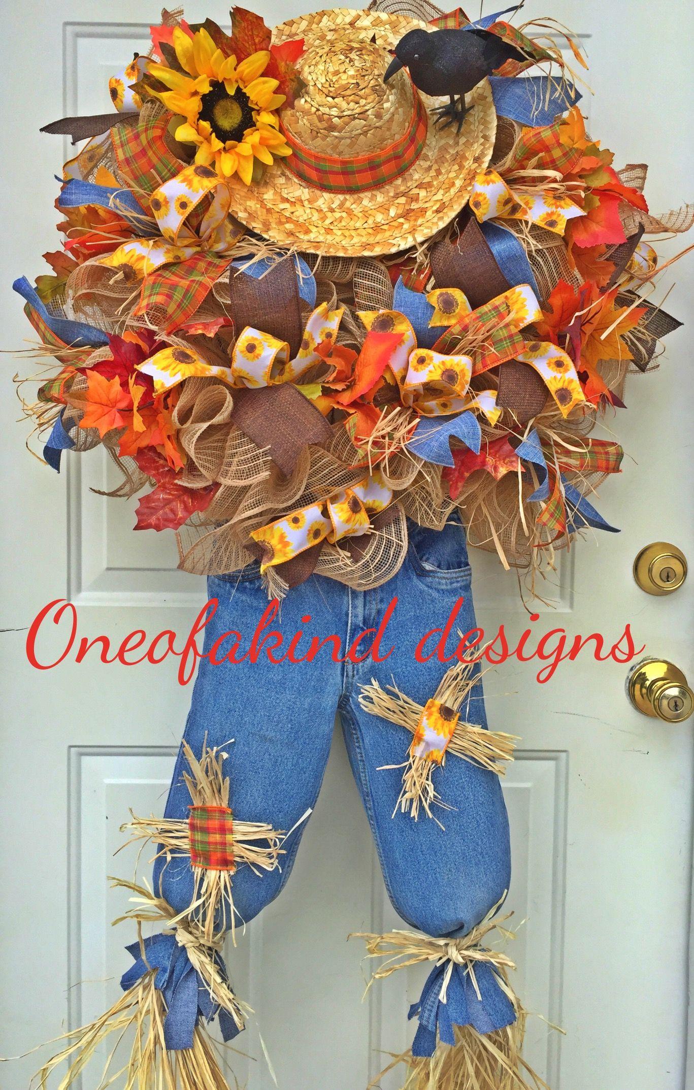 Fall scarecrow deco mesh wreath Fall