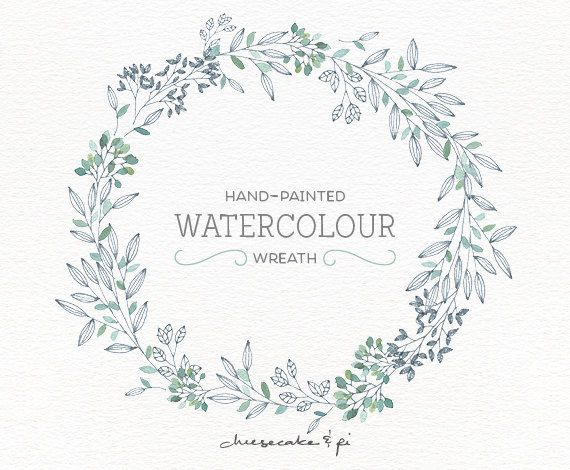 Watercolor wreath png floral clip art flower wreath for Watercolor greenery