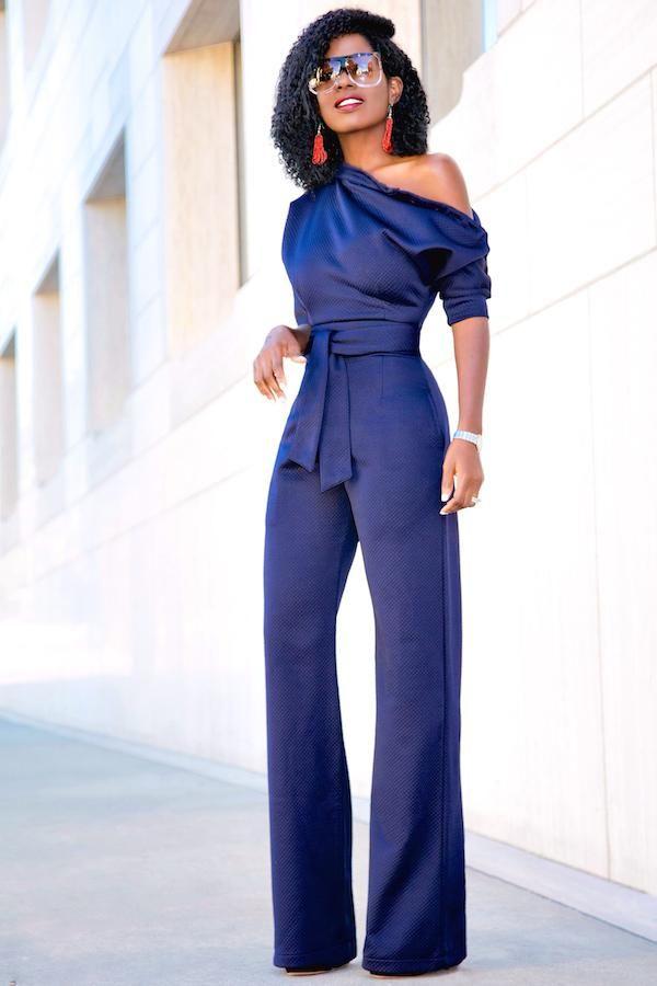 Blue Dressy Plus Jumpsuit: Navy Blue Slanted One Shoulder Wide Leg Formal Jumpsuit
