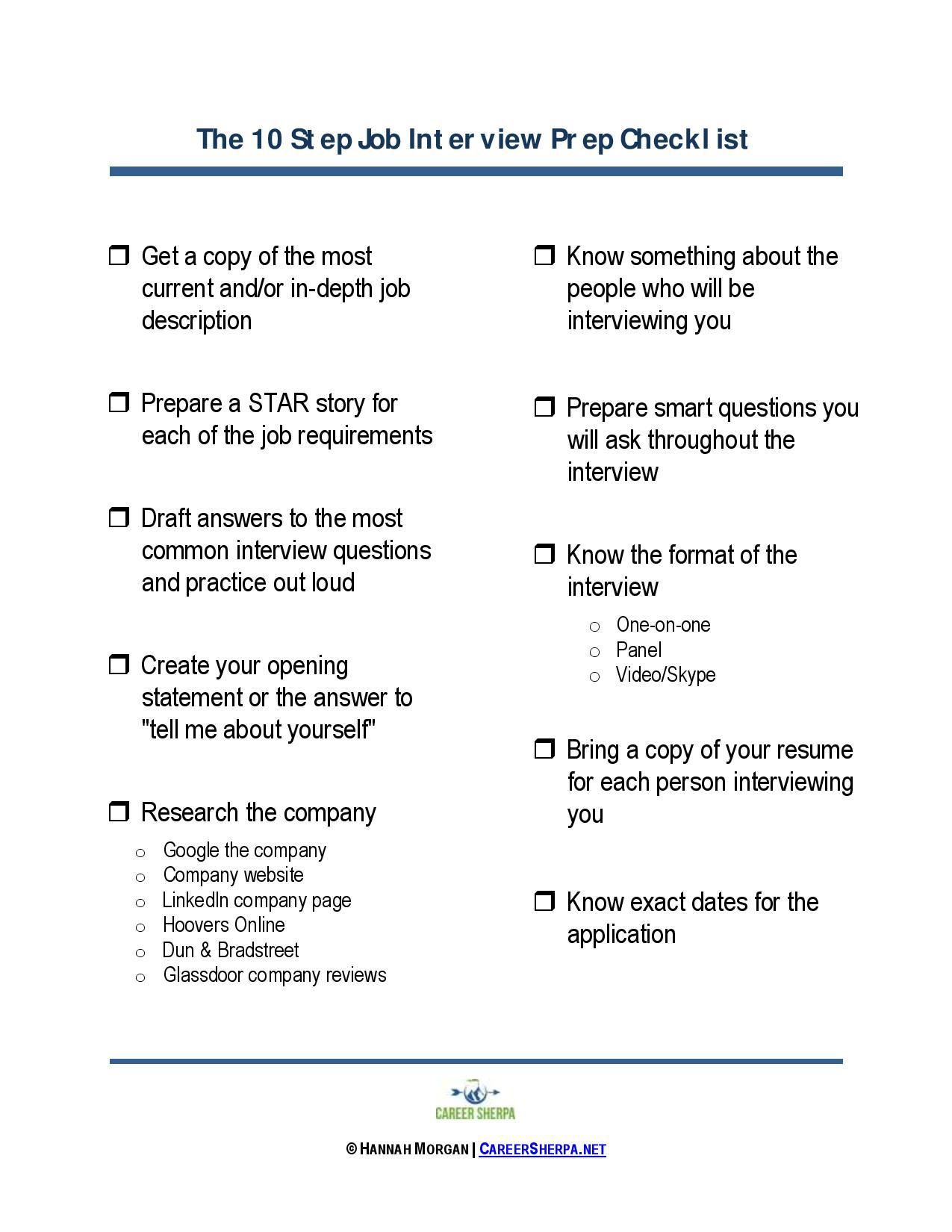 10 Step Job Interview Prep Checklist
