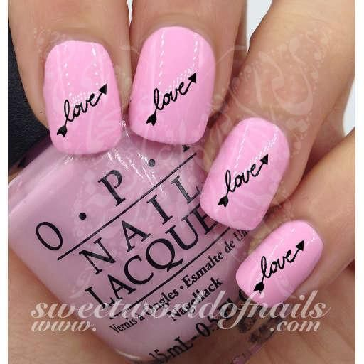 Valentines Day Nail Art Love Word With Arrows Nail Water Decals Wraps