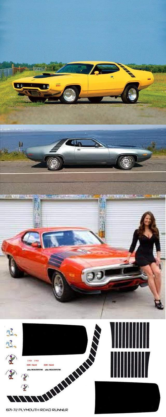 1971-72 Plymouth Road Runner Special Stripes 1//18th Scale Waterslide Decals