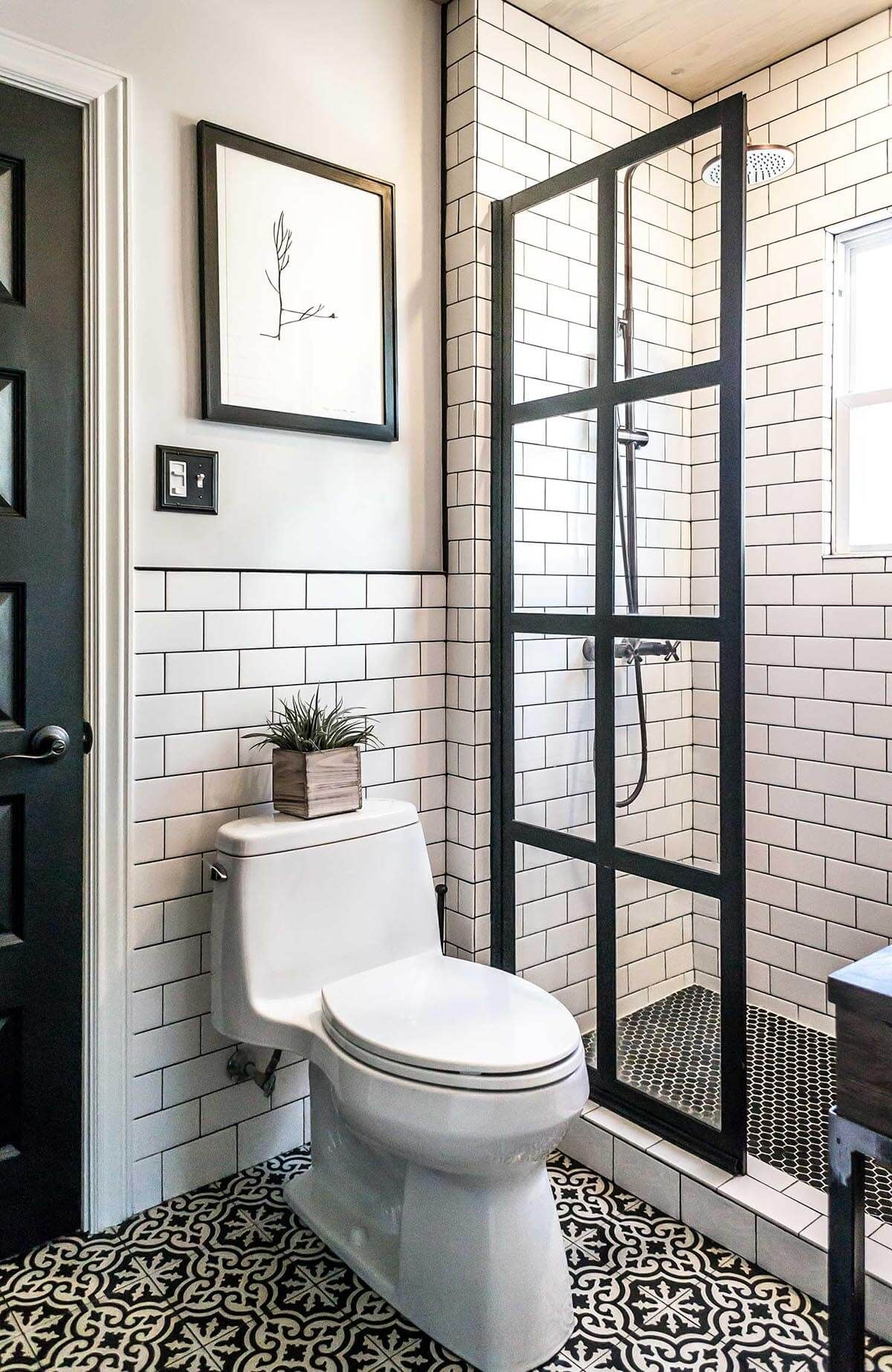 Photo of maybe with a lighter grout on walls?   Manhattan Chic Black and White Tiling
