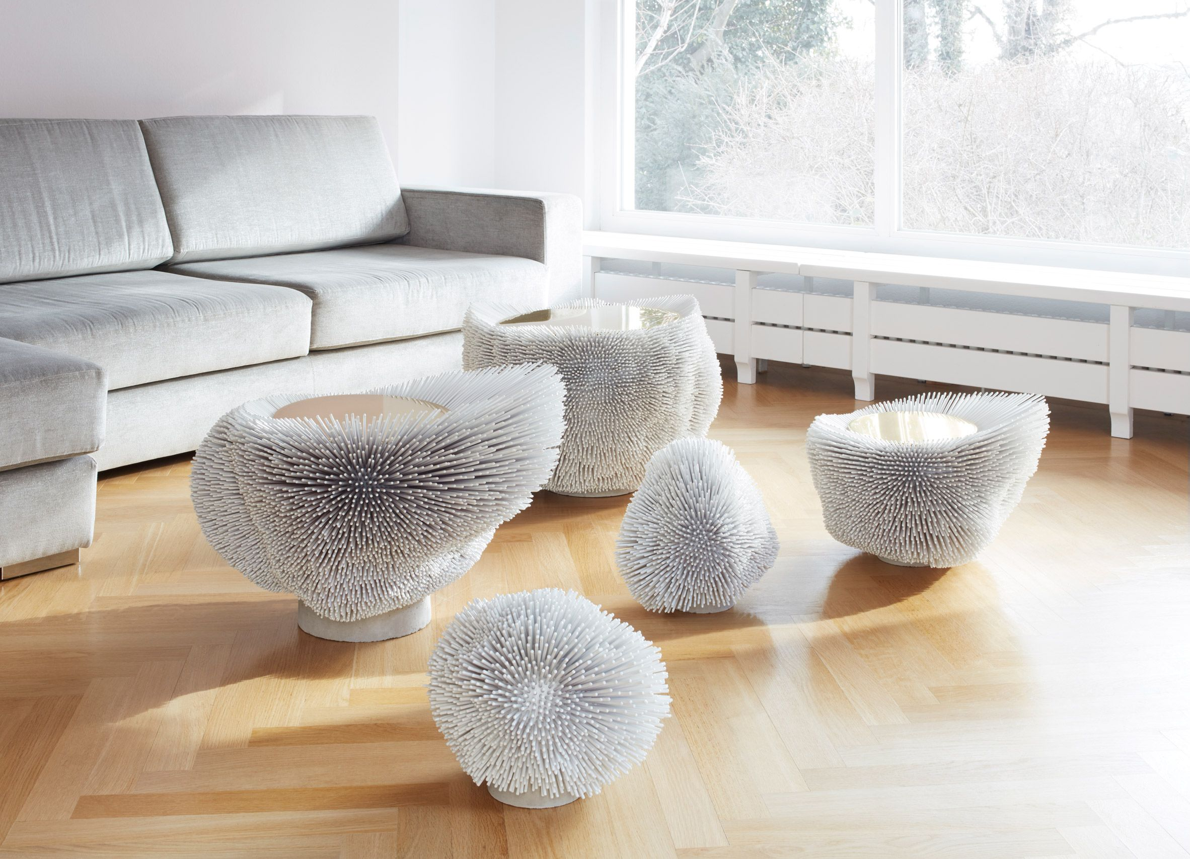 Beech Rods Turned Into Spiky Furniture By Pia Maria Raeder Furniture Art Furniture Modern Coffee Tables [ 1707 x 2364 Pixel ]