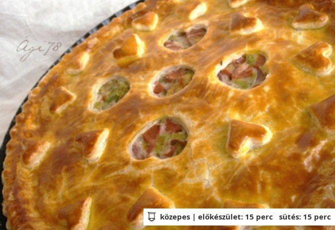 Póréhagymás virslis pite leveles tésztából