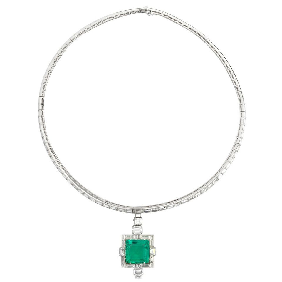 Art Deco Emerald Diamond Platinum Line Necklace | From a unique collection of vintage drop necklaces at https://www.1stdibs.com/jewelry/necklaces/drop-necklaces/
