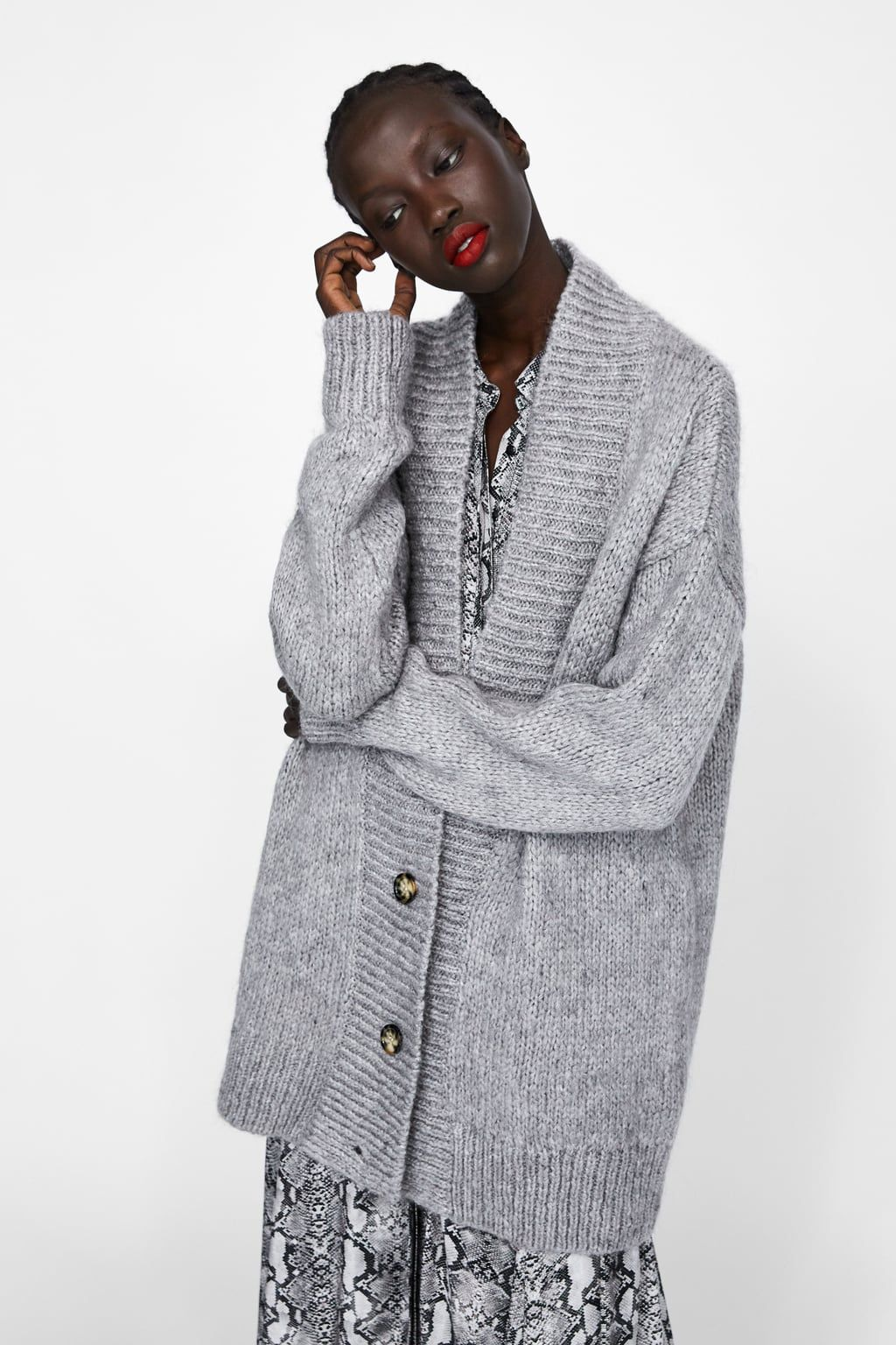 76447699339 Image 2 of OVERSIZED TEXTURED CARDIGAN from Zara