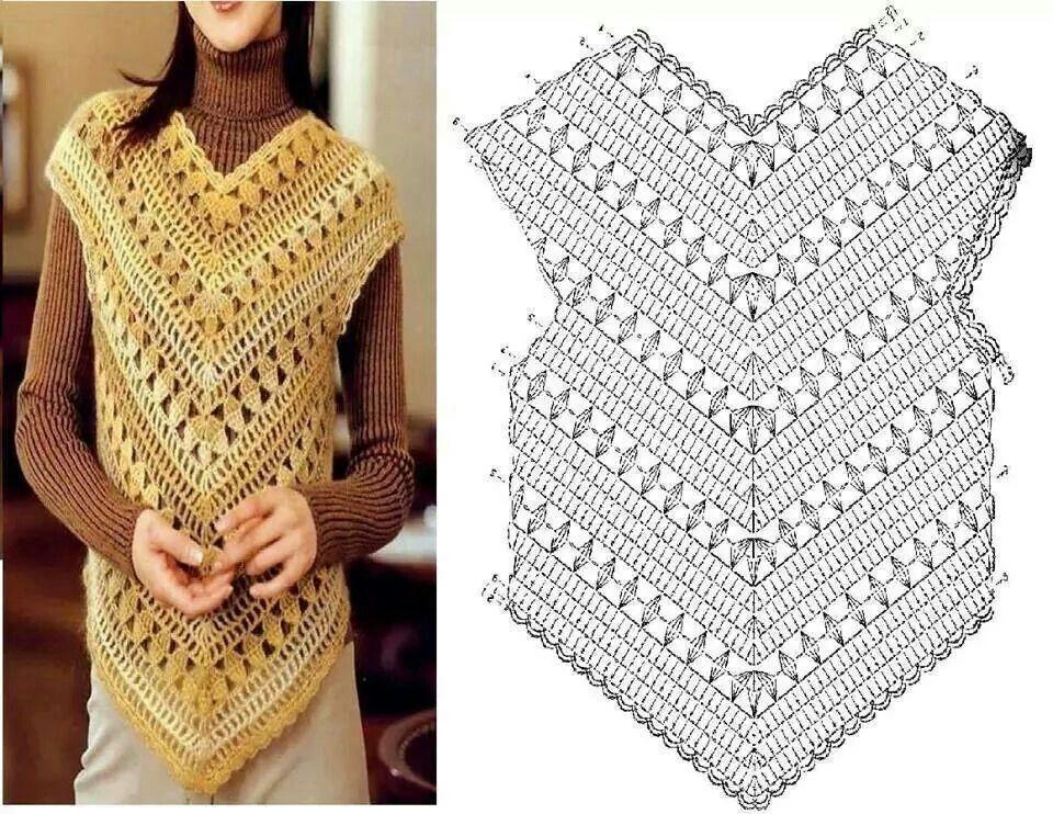 Resultado de imagen para chaleco a crochet patron | Blusas, Poleras ...