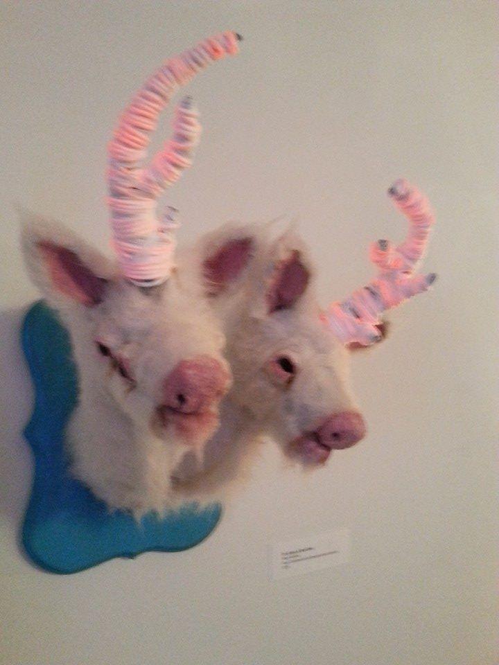 Double Headed Albino Deer by Mery McNett