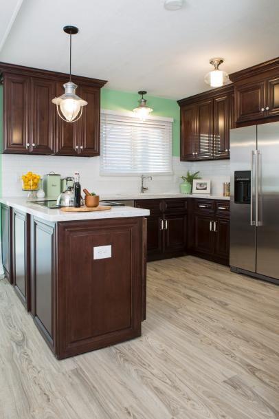 Mint Green Kitchen With Dark Brown Cabinets