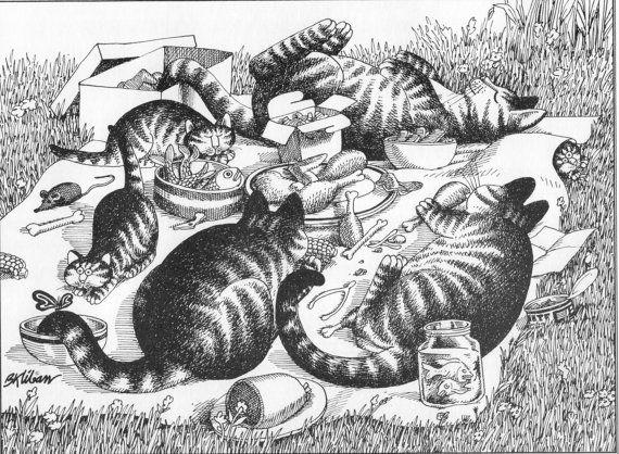 B Kliban Cat PICNIC CATS vintage funny cat art print
