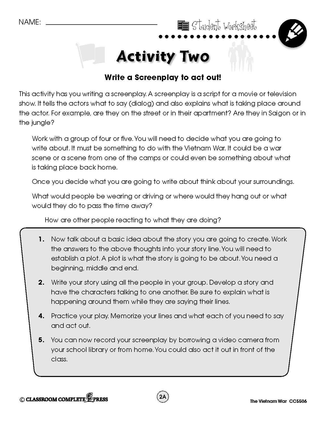 Write and act out a play showing a scene from the Vietnam War with this  FREE activity from CC…   Social studies worksheets [ 1650 x 1275 Pixel ]