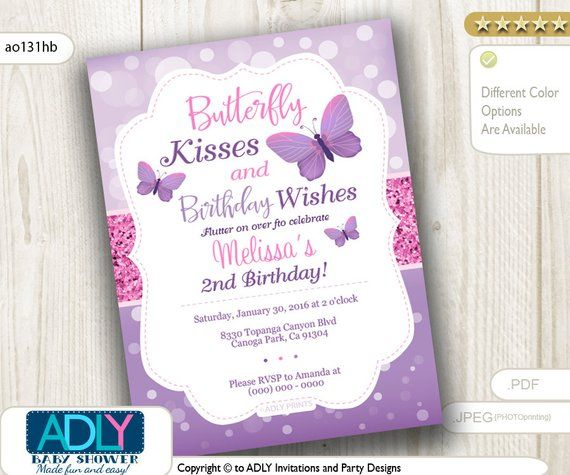 Butterfly Kisses And Birthday Wishes Invitation For A Purple Pink Flutter O