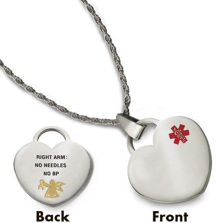 Cancer jewelry medical alert pendants lymphedema medical alert cancer jewelry medical alert pendants lymphedema medical alert heart pendant cancer necklaces tlc aloadofball Images