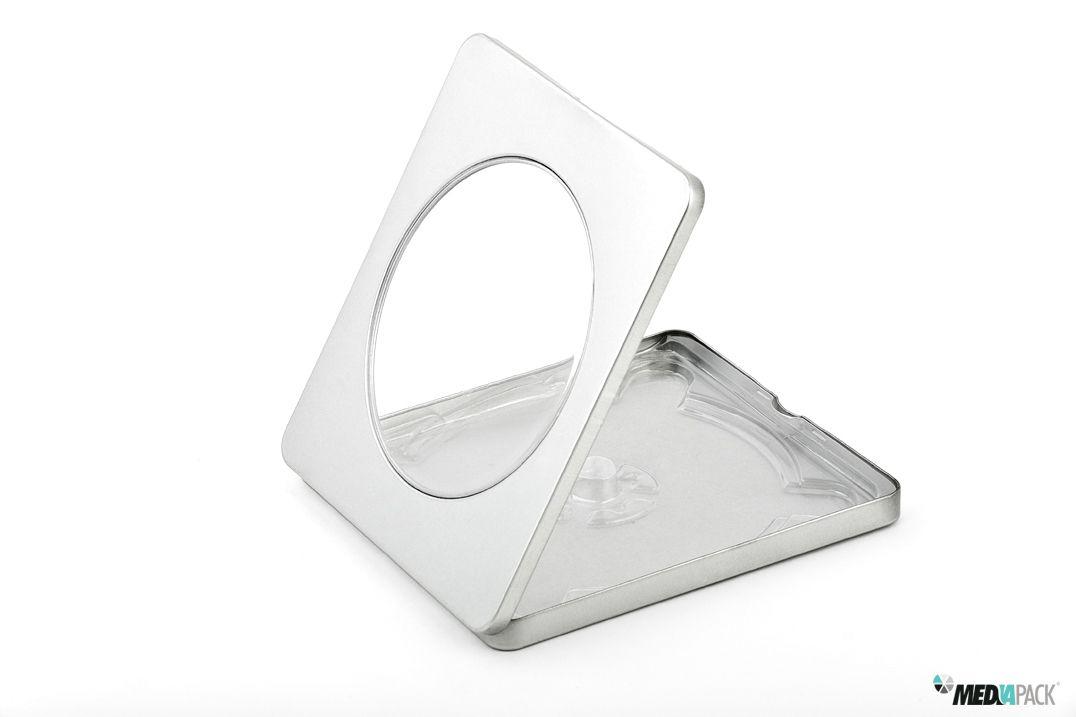 Embalagem de metal, para CD/DVD com janela.