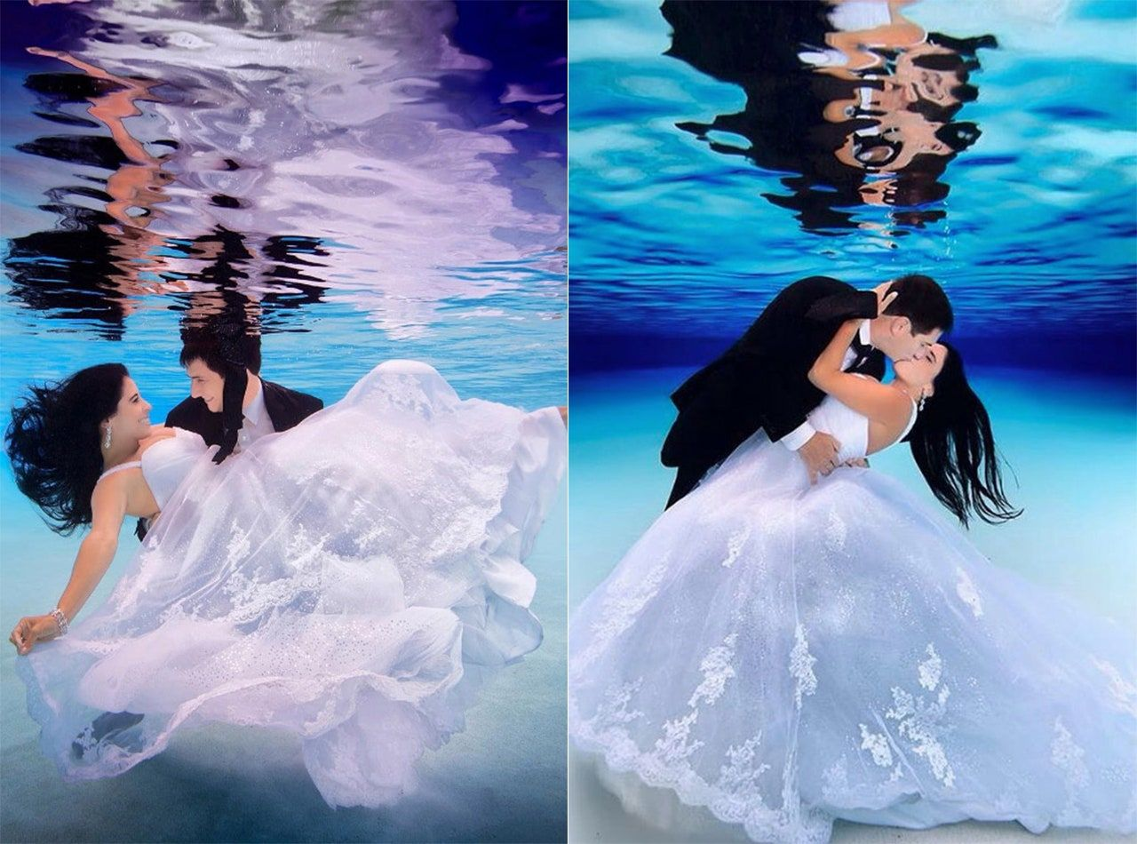 These Stunning Underwater Wedding Photos Are One Of A Kind Incredible In 2020 Underwater Wedding Photo Water Engagement Photos
