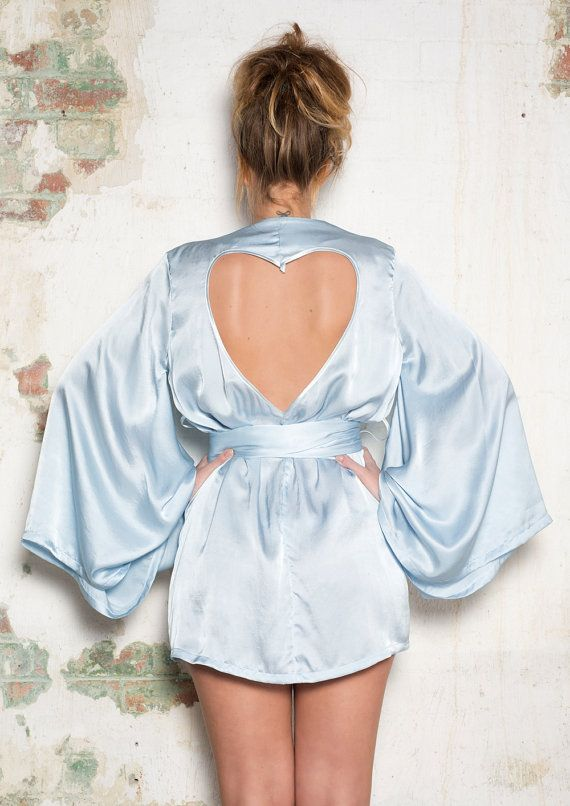 3994a4590ba63 Sexy-Classy Bridal Lingerie to Wear on Your Wedding Night - Blue Silk  Kimono Robe by Lalilouche