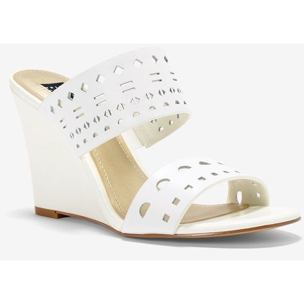 6343266c299 White House Black Market Laser-Cut Leather Wedge Sandals ( 67) ❤ liked on