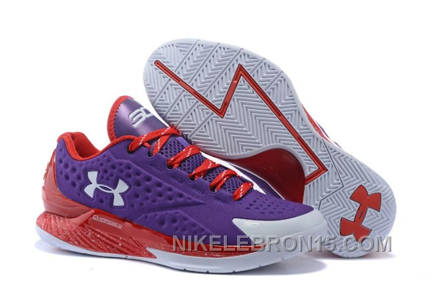 Under Armour Curry One Low Custom Purple Red Sneaker Top