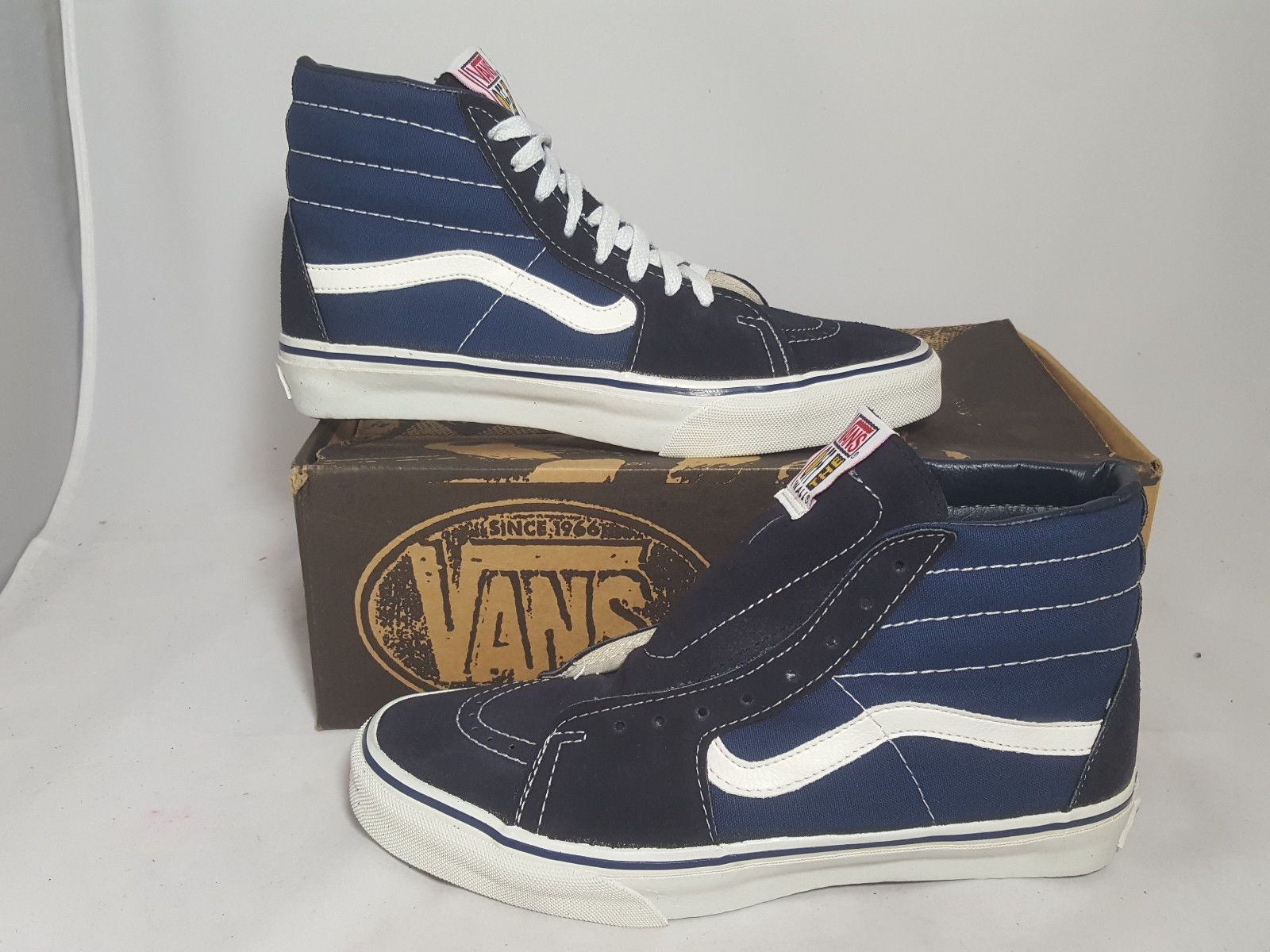a3a4b453d90 Vintage Vans shoes SK8 HI NAVY made USA Men s Size 9 NOS Old Skool BMX skate