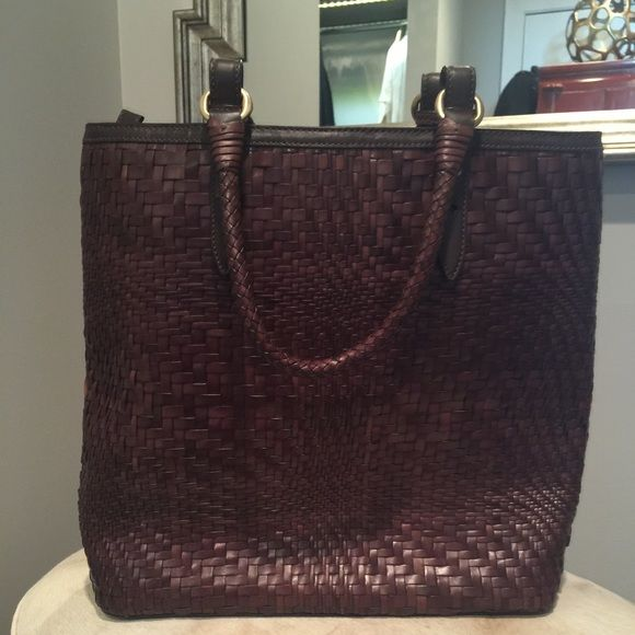 Cole Haan Handbag Chocolate brown woven leather tote bag. Excellent condition. Never worn. Cole Haan Accessories