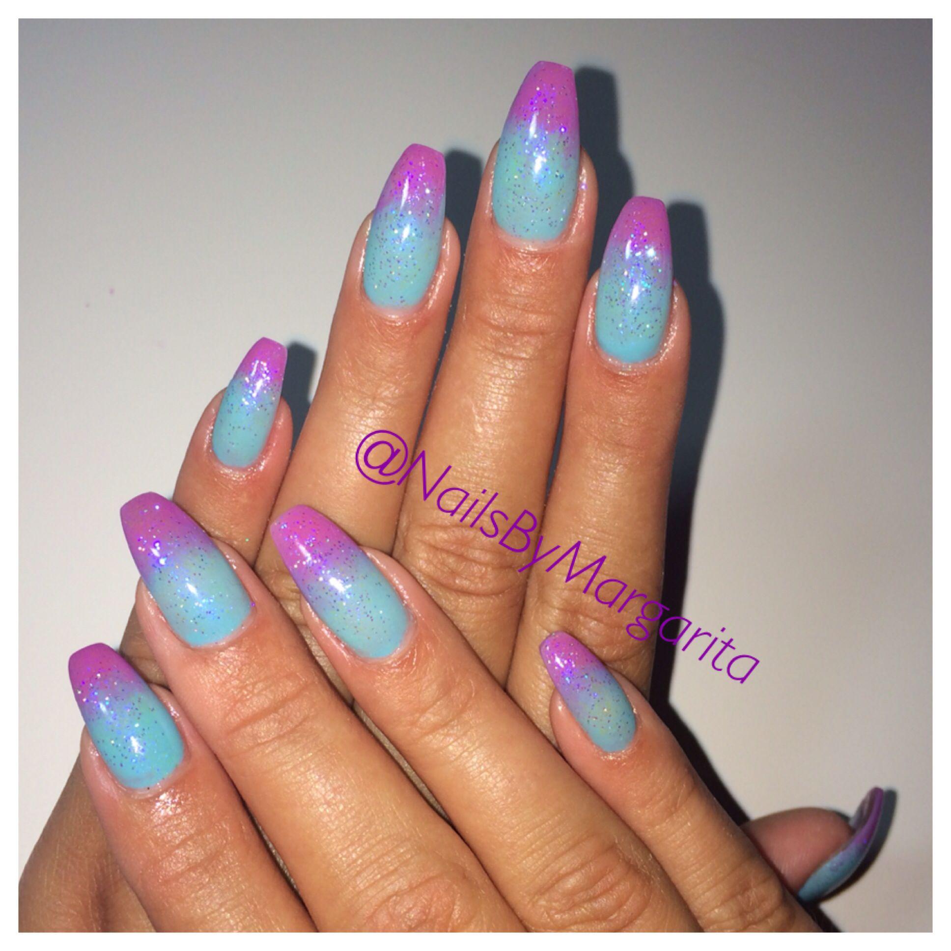 blue purple ombr coffin nails