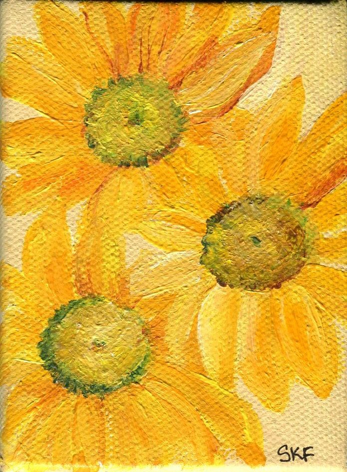 Yellow Shasta Daisy Mini Painting Original Acrylics On Canvas Easel Small Floral Art
