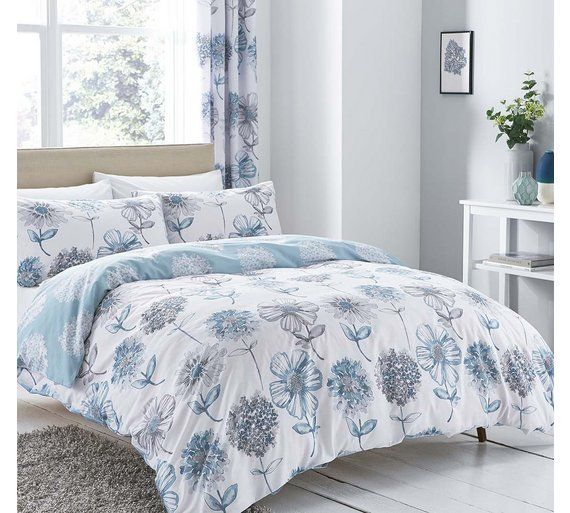 Buy Catherine Lansfield Blue Floral Bedding Set Kingsize At