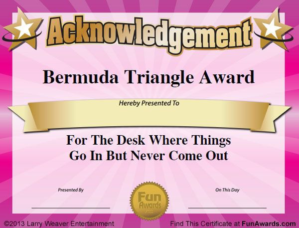 Humorous Awards, Ideas, Certificates - Funny Award Ideas gift