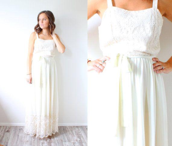 Vintage boho crochet wedding dress // ivory by BeigeVintageCo ...