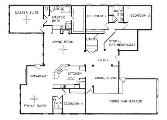 inspiring floor plan of a one story house with one story four bedroom house plans - Single Story House Plans