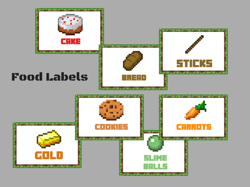 minecraft food labels free minecraft party printable toppers box banner minecraft centerpieces minecraft party package minecraft printabes