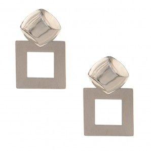 Zarcillos de metal con base cuadrada