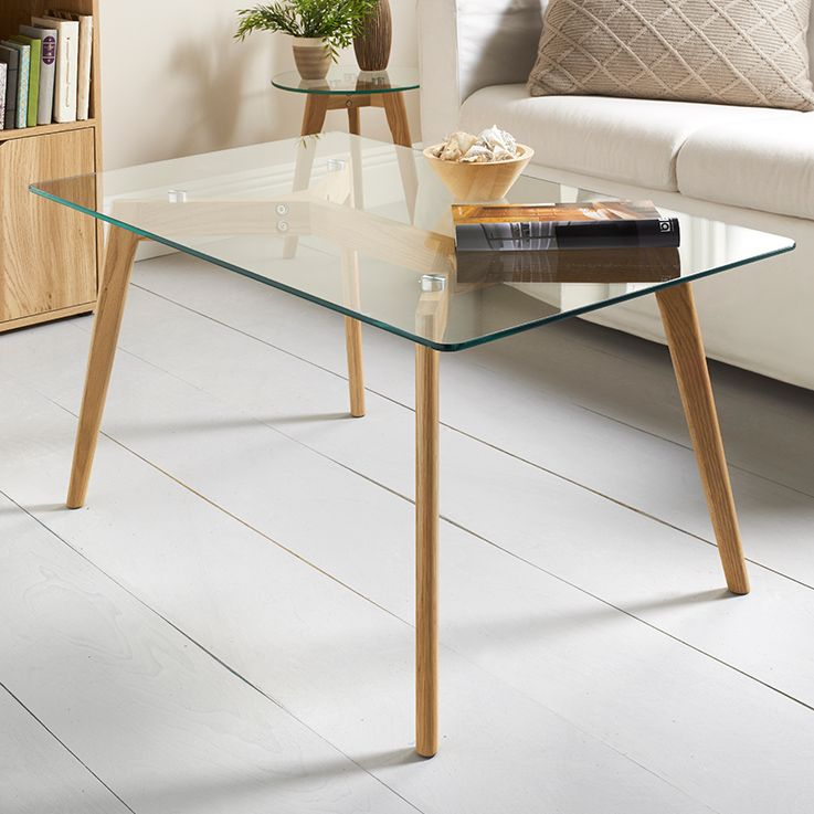 Aiden Coffee Table. Oak And Glass Coffee Table. Solid Oak