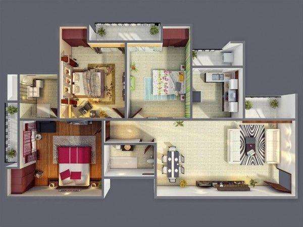 3 Bedroom Apartmenthouse Plans  Mi Futura Casa  Pinterest Custom 3 Bedroom Apartment Design Decorating Design