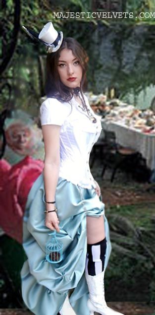 Steampunk Alice in Wonderland Costume  Corset and Bustle Skirt ... 73bca1c8a3fc