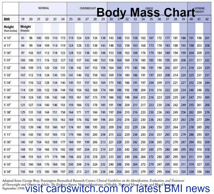 Body Mass Chart Bmi Body Mass Index Latest News Carbswitch