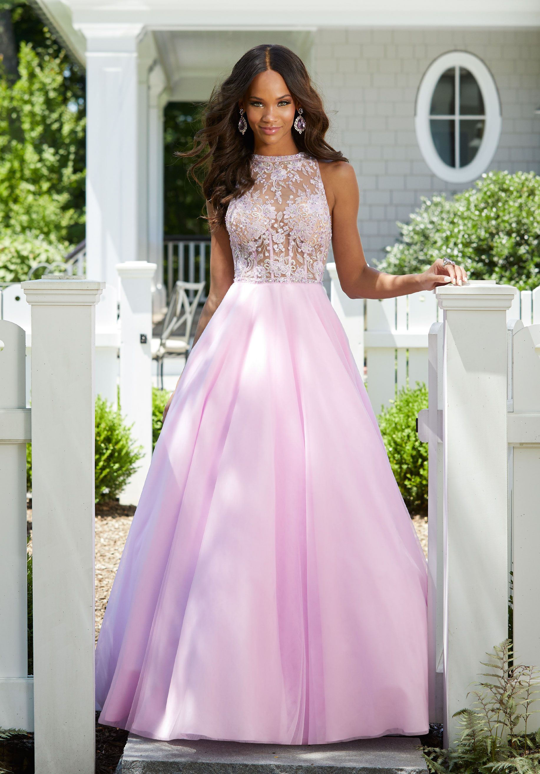 7f73eb544ec Beaded Embroidery on Tulle Beautiful Prom Ballgown Featuring a Sheer