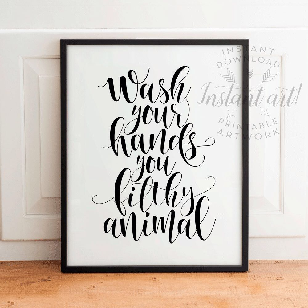 Wash Your Hands PRINTABLE Art   Bathroom Printable Art, Bathroom Wall Decor,  Funny Bathroom