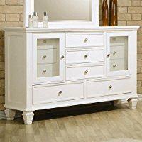 Best Coaster Storage Dresser With Glass Doors In White Finish 400 x 300