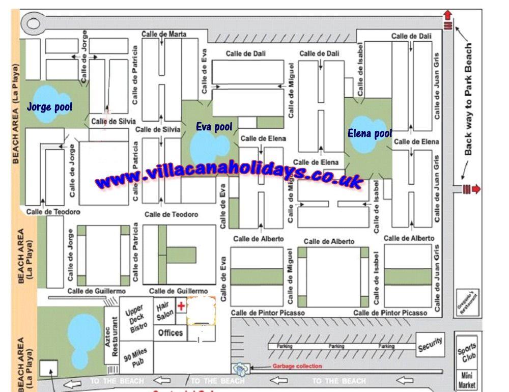 Map Of Villacana Beach Resort Estepona Holiday Apartments Estepona Apartments For Rent