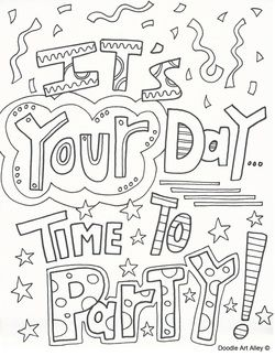 Free Birthday Coloring Pages Time To Celebrate
