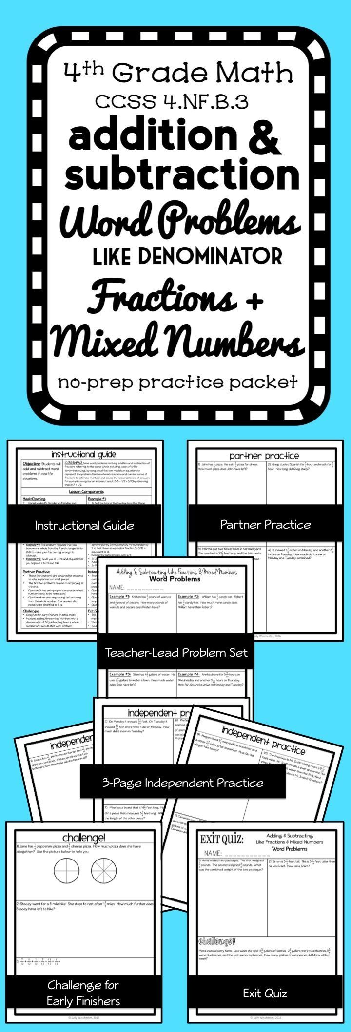 Adding And Subtracting Fractions With Like Denominators Word Problems Complete 8 Page Lesson Pa Fraction Word Problems Subtraction Word Problems Word Problems Lesson adding and subtracting