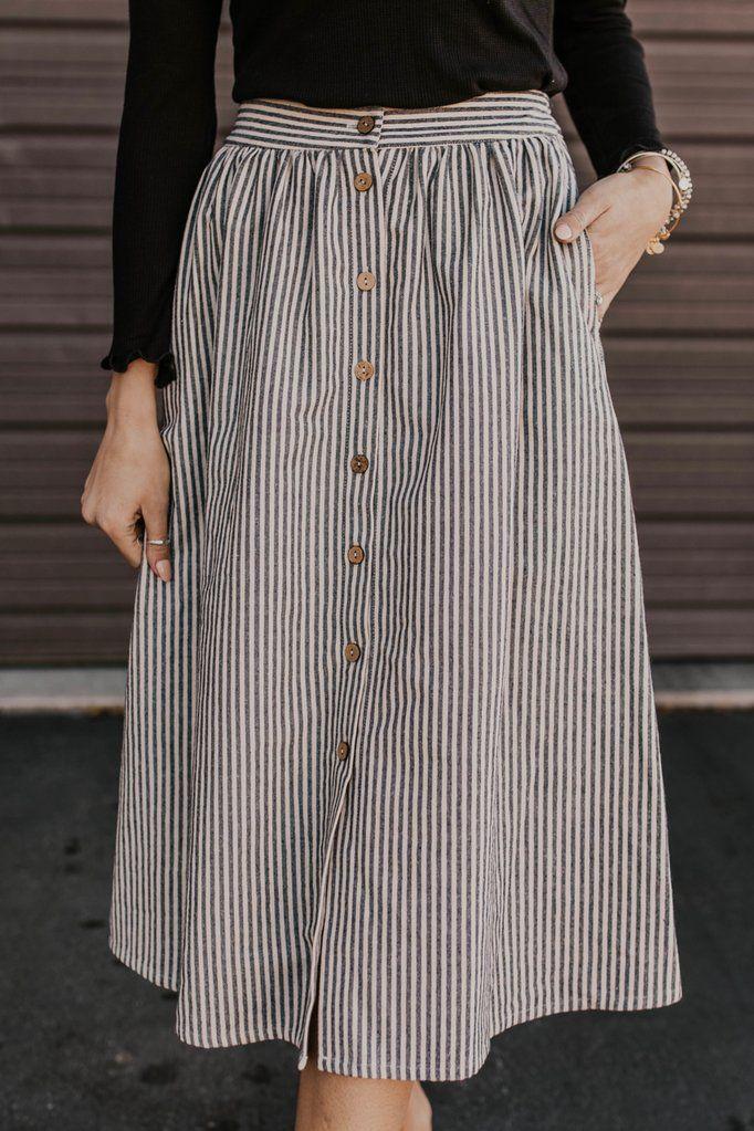 Anna Ruth Button Skirt