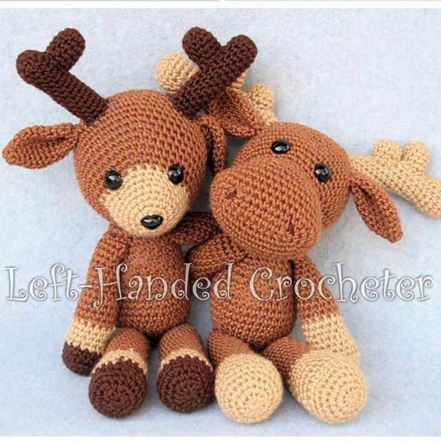 Marty the Moose and Randall the Reindeer really belong together. You can buy either of these patterns for $2.00 each on my Ravelry, or you can purchase the ebook with both patterns for only $3.00. https://www.ravelry.com/patterns/sources/woodland-collection #crochet #yarn #lefthanded #amigurumi #doll #moose #reindeer #deer #crochetersofinstagram