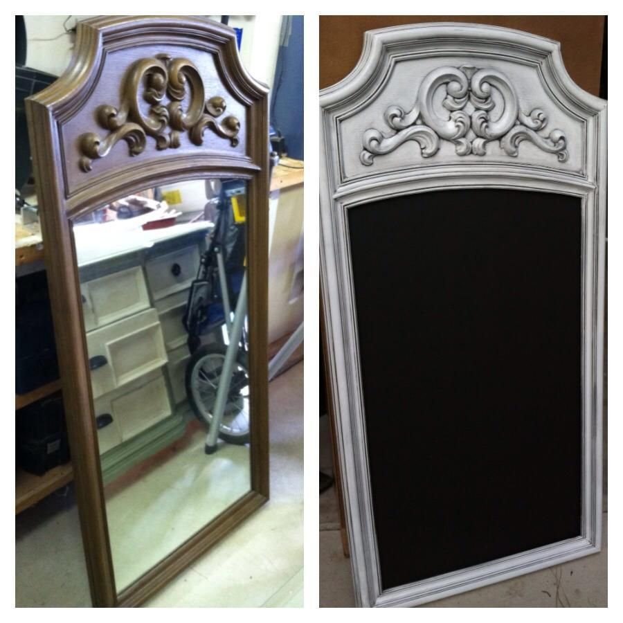 Best Old Dresser Mirror Turned Into A Chalkboard Spray Painted 400 x 300