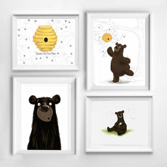 Honey Bee Bear Cub Baby Room Art Print Collection, Baby Shower